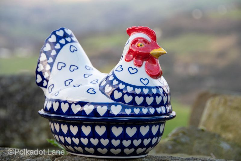 Hearts Pattern Hen Egg Container from Polkadot Lane Polish Pottery