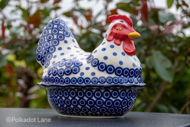Hen Egg Container Circles Pattern from Polkadot Lane UK Polish Pottery
