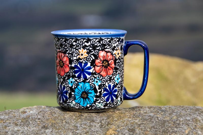 Polish Pottery Large Tea Mug Mexican Flower Pattern by Ceramika Andy