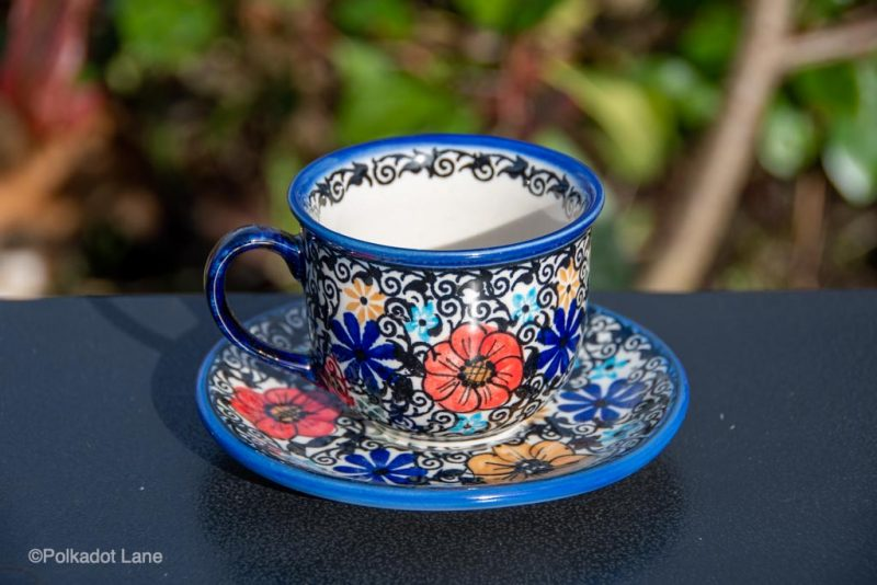 Polish Pottery Mexican Flower Cup and Saucer from Polkadot Lane UK