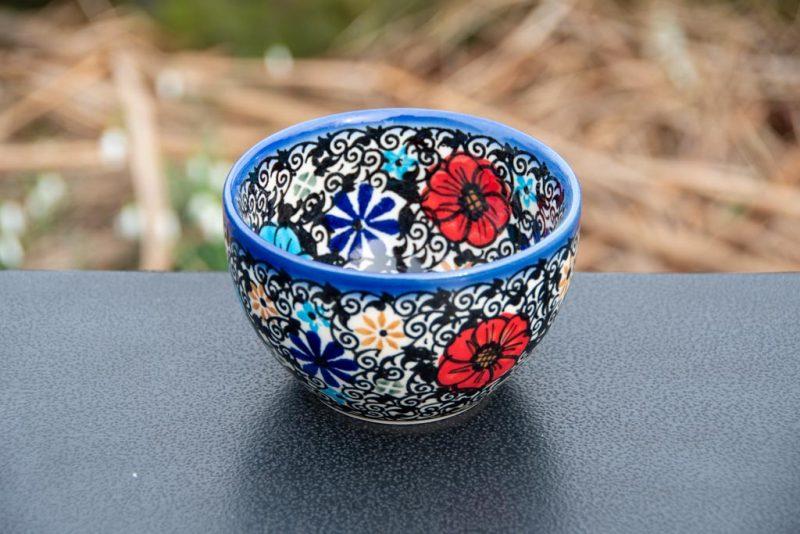 Mexican Flower Dip Bowl from Polkadot Lane Polish Pottery UK