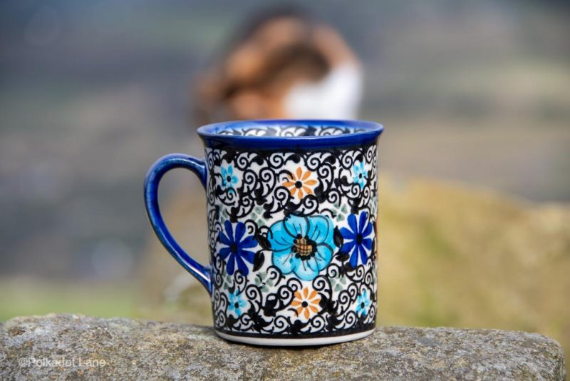 Polish Pottery Mexican Flower Tea Mug from Polkadot Lane UK