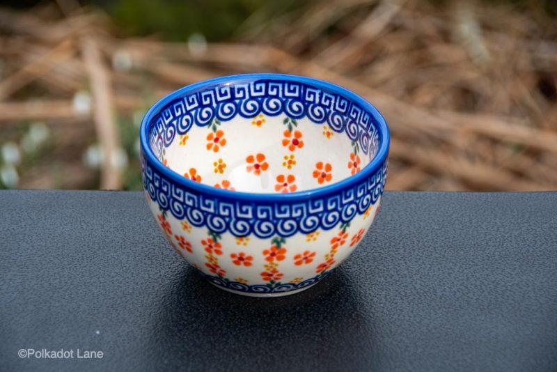 Orange Flower Dip Bowl from Polkadot Lane Polish Pottery UK