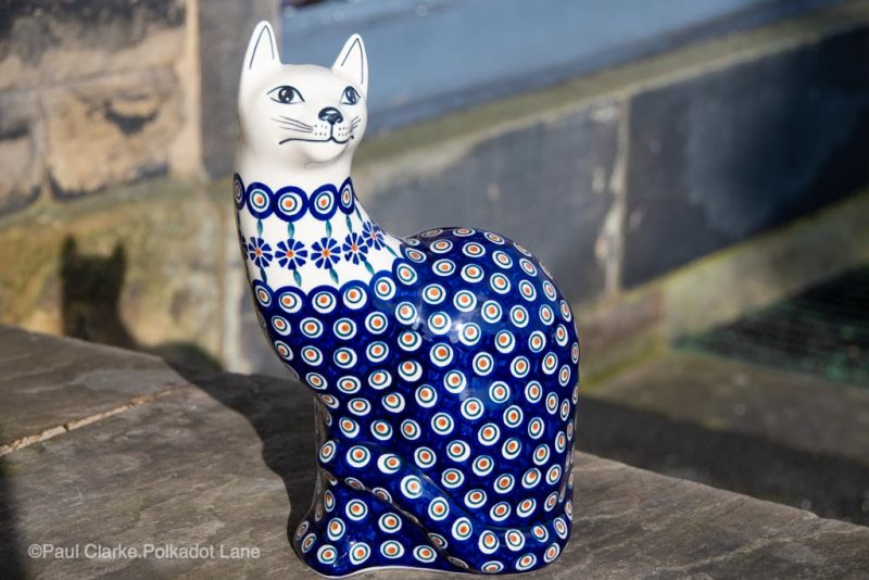 Polish Pottery Peacock Flower Cat from Polkadot Lane UK