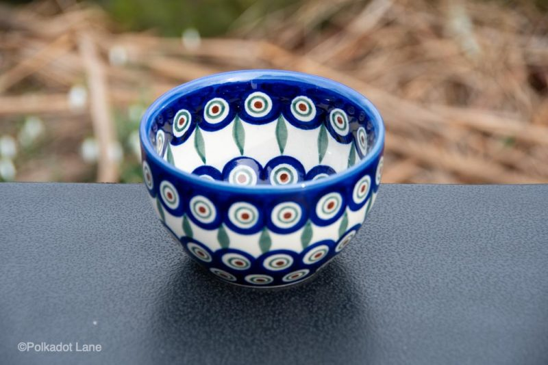 Peacock Leaf Dip Bowl by Ceramika Andy Polish Pottery