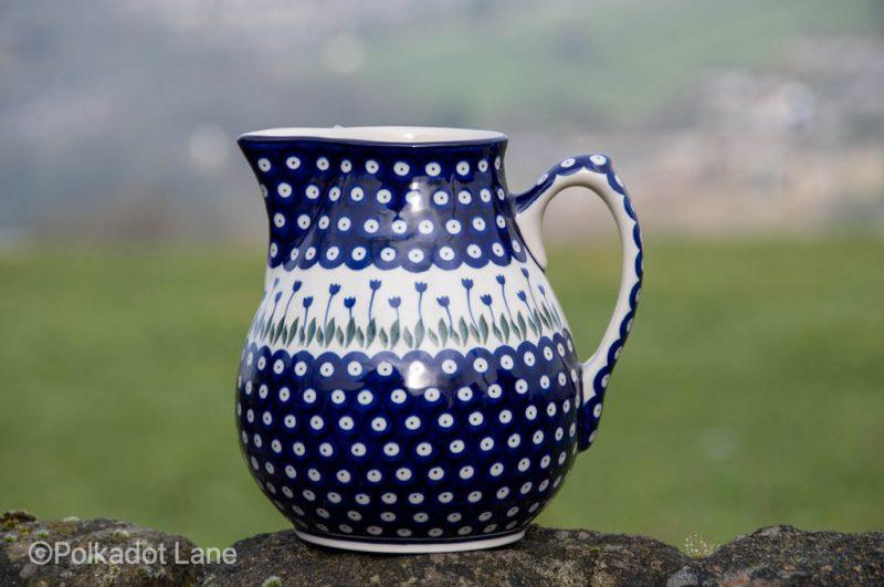 Polish Pottery 3 litre pitcher Flower Spot from Polkadot Lane UK