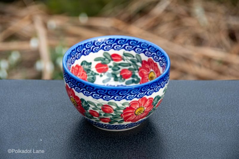Red Flower Swirl Dip Bowl by Ceramika Andy Polish Pottery