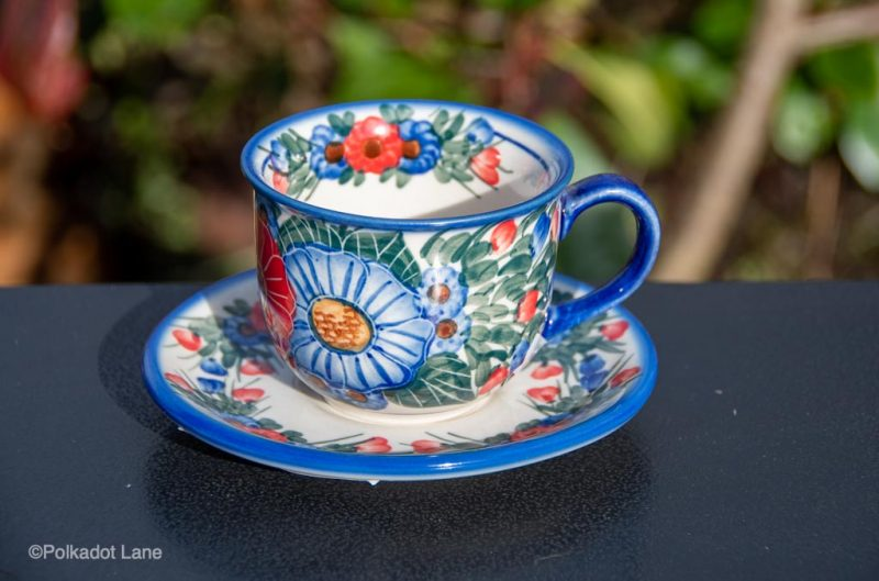 Polish Pottery Andy Red and Blue Flower garden Unikat Cup and Saucer