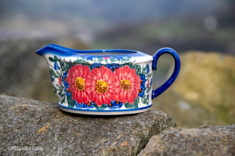 Andy Polish Pottery Sauce Jug Red Flower Garden from Polkadot Lane UK