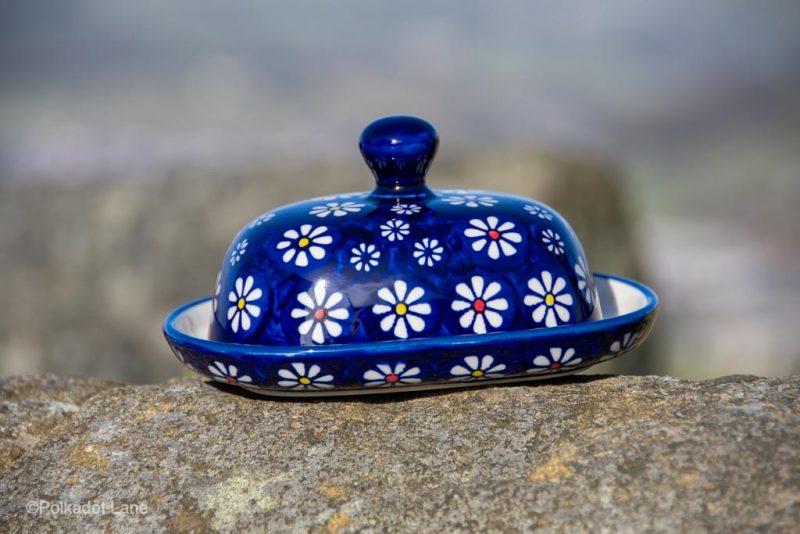 Polish Pottery Midnight Daisy Butter Dish from polkadot Lane UK
