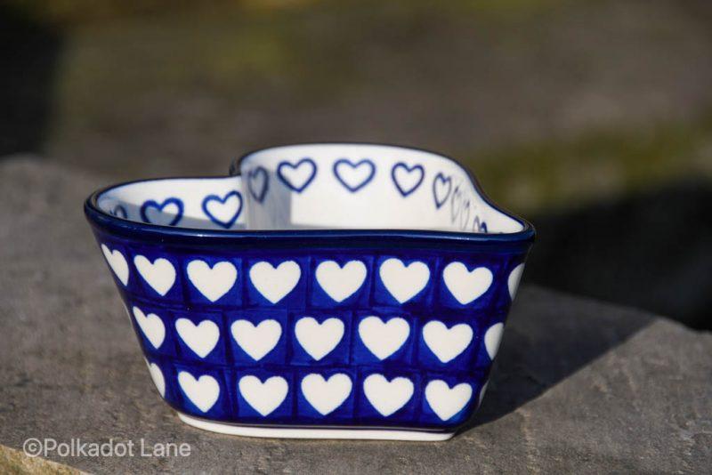Small Heart Dish Hearts Pattern from Polkadot Lane UK