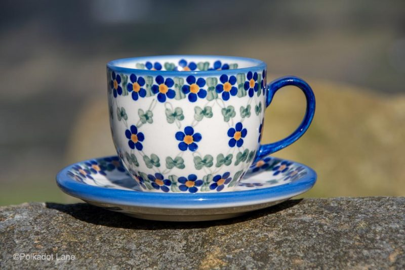 Trellis Flower Cup and Saucer by Ceramika Andy from Polkadot Lane UK