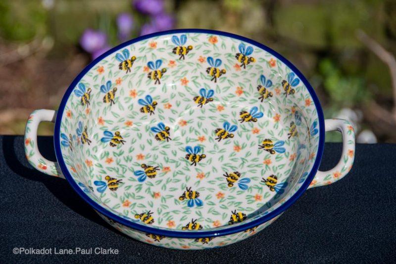 Bee Pattern Medium Size Dish with Handles Polish Pottery