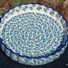 Blue Berry Leaf Flan Dish from Polkadot Lane Polish Pottery Shop UK