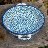 Blue Berry Leaf Round Dish With Handles Blue Berry Leaf