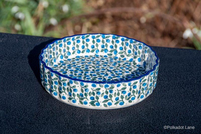 Blue Berry Leaf Small Flan Dish by Ceramika Artystyczna