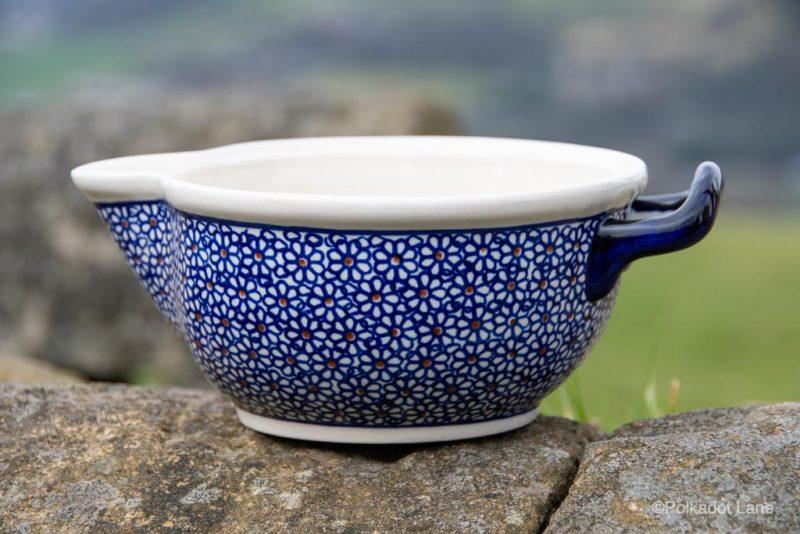 Mixing Bowl Blue Daisy Pattern from Polkadot Lane UK