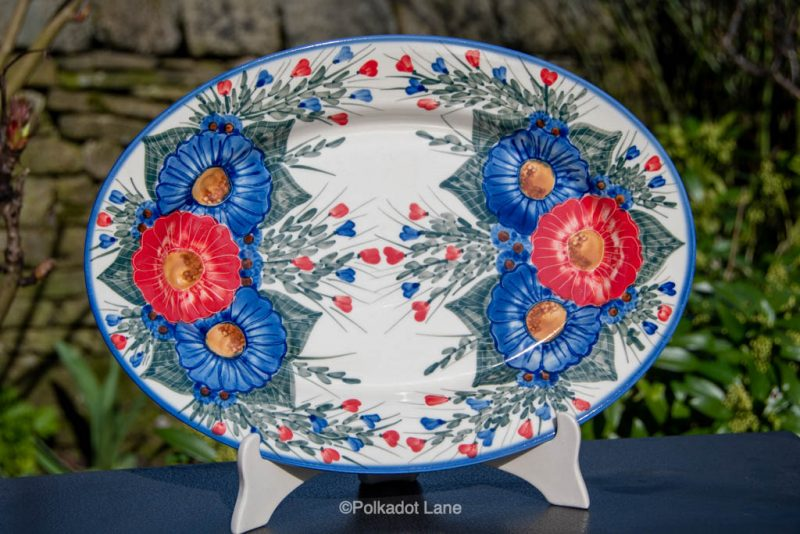 Blue Flower Garden Serving Plate by Ceramika Andy Polish Pottery
