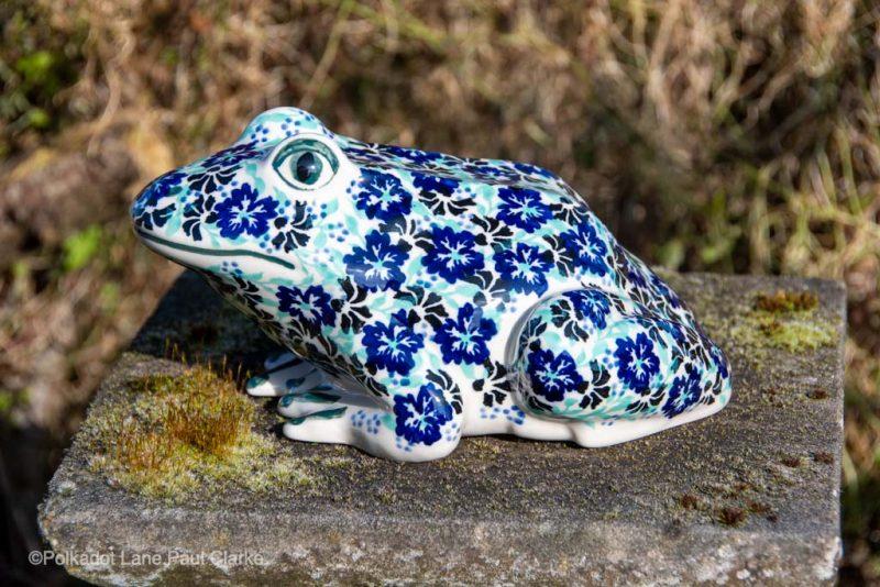 Andy Polish Pottery Frog Green Blue Black flowers from polkadot Lane UK