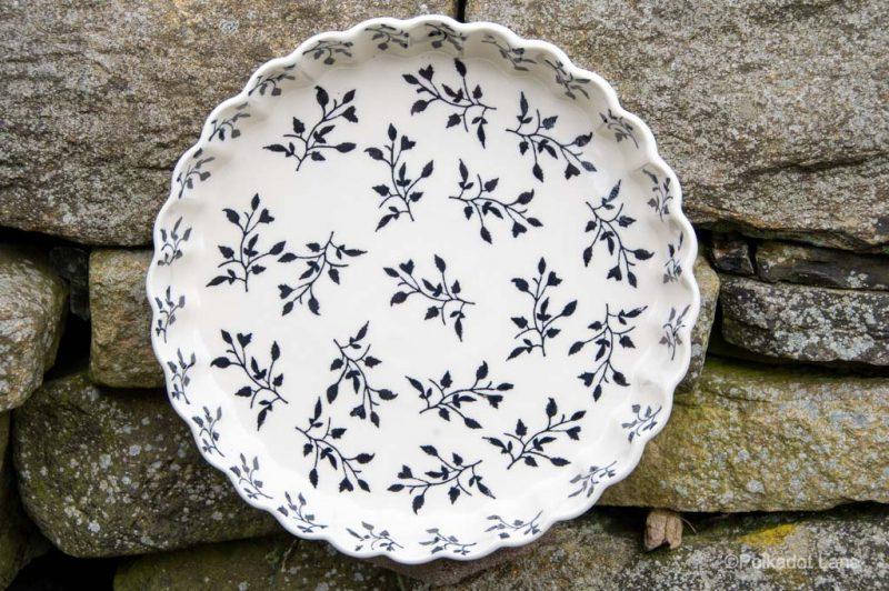 Black Leaf Flan Dish by Ceramika Manufaktura Polish Pottery