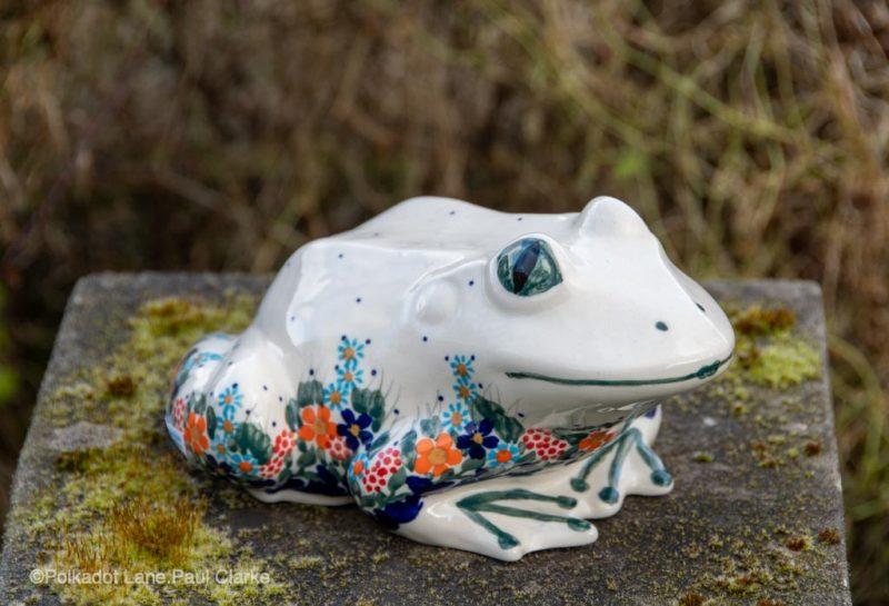 Polish Pottery Frog Flower Garden Unikat Pattern from Polkadot Lane UK