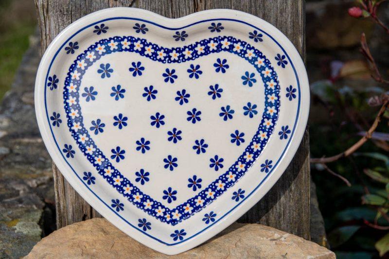 Retro Daisy Heart Plate by Ceramika Zaklady Polish Pottery
