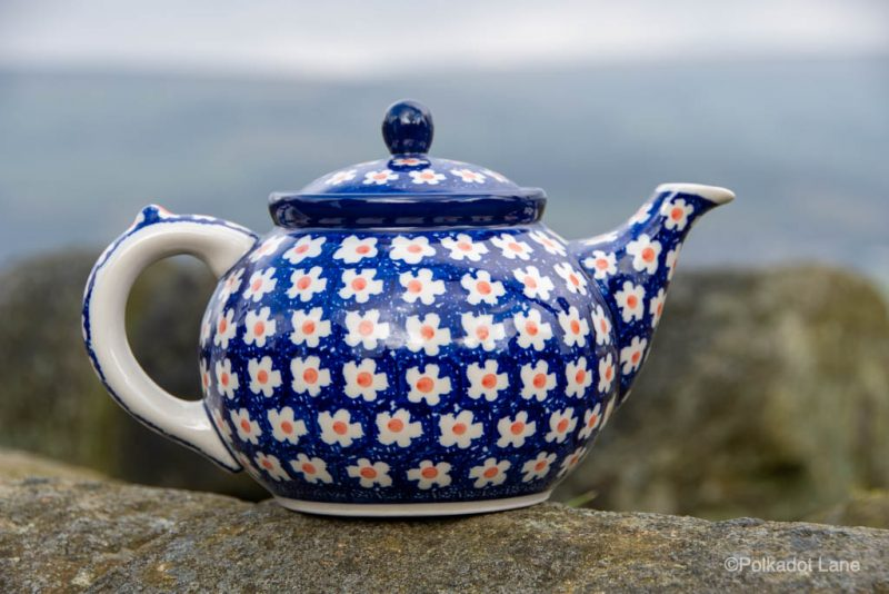 Teapot for Four Orange Flower Spot by Ceramika Artystyczna Polish Pottery