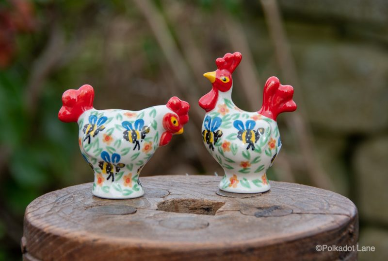 Bee Pattern Salt and Pepper Hens by Ceramika Artystyczna