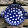 Small Round Dish with Handles Starry Pattern from Polkadot Lane Polish Pottery