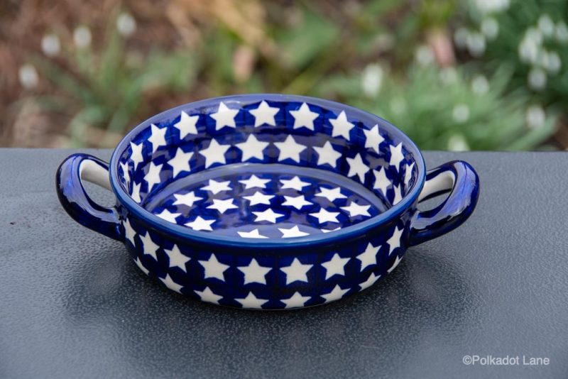 Small Round Dish With Handles White Star Pattern from Polkadot Lane UK