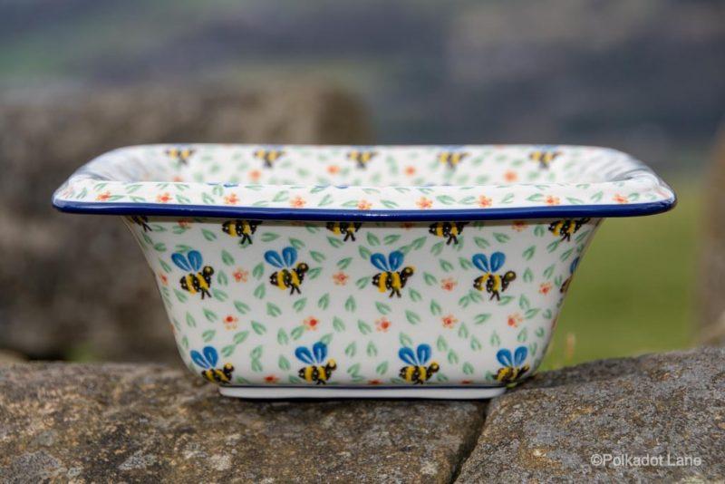 Square Shaped Dish With Rim by Ceramika Artystyczna Polish Pottery