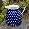 Polish Pottery Blue Spotty Large Jug by Ceramika Manufaktura