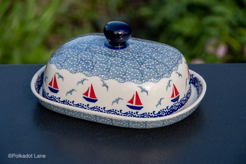 Boats Pattern Butter Dish by Ceramika Manufaktura Polish Pottery