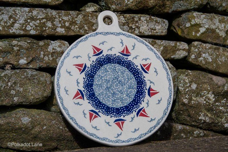 Boats Pattern Cutting Board by Ceramika Manufaktura Polish Pottery