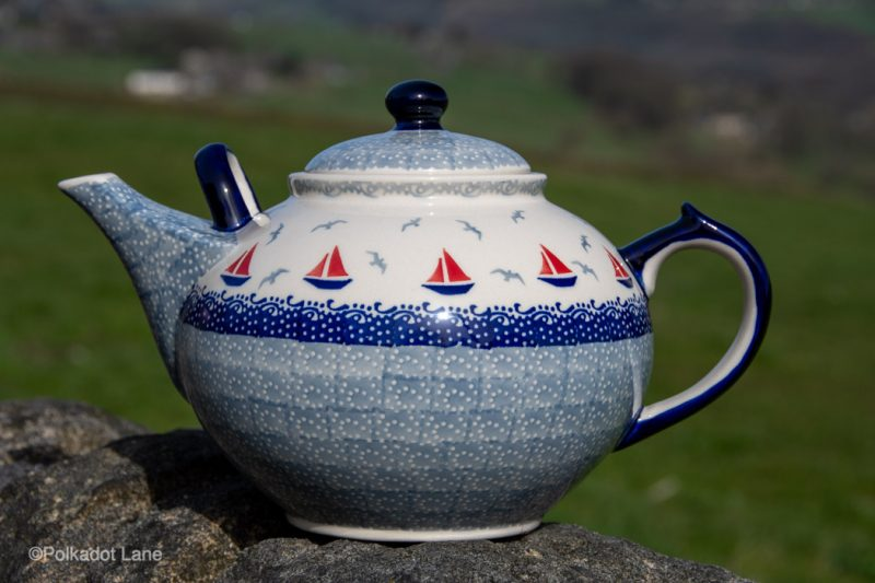 Boats Pattern Extra Large Teapot by Ceramika Manufaktura