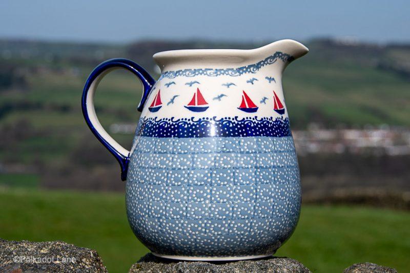 Large Jug Boats Pattern by Ceramika Manufaktura Polish Pottery