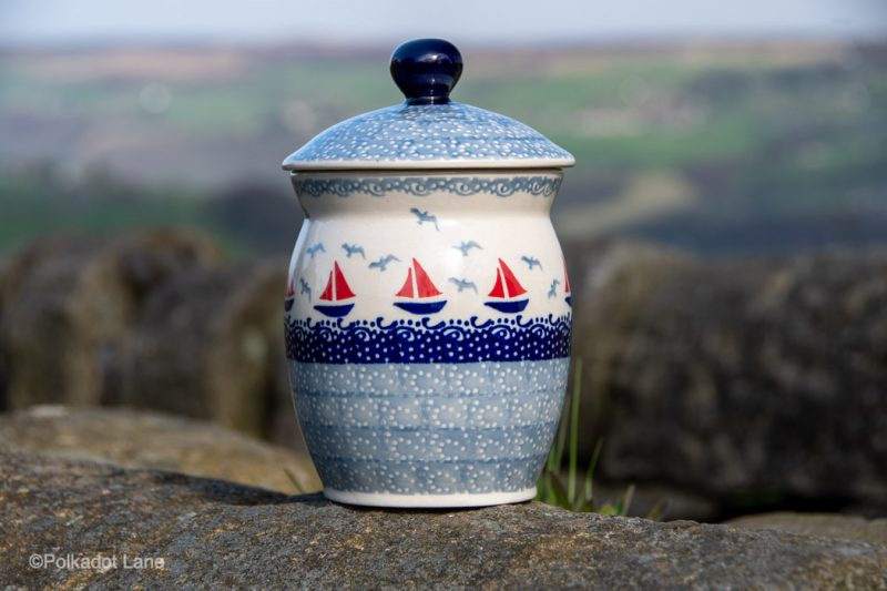 Polish Pottery Storage Container Boats Pattern from Polkadot Lane UK