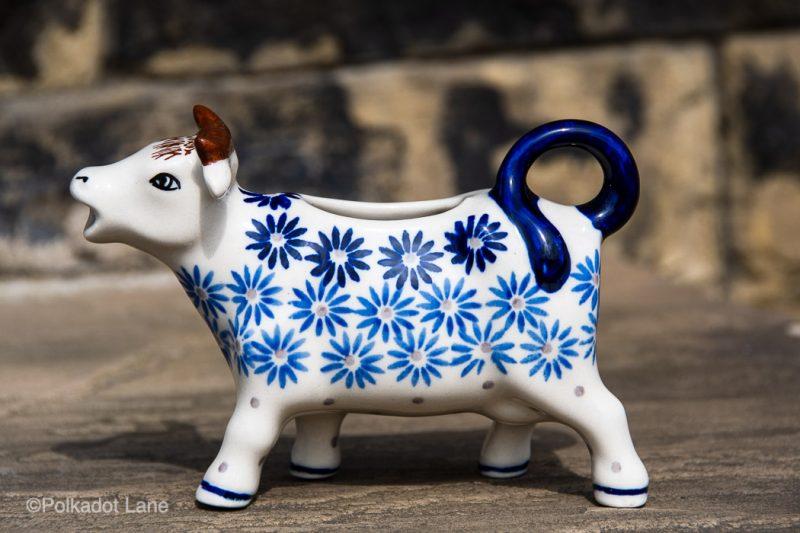 Fading Flower Cow Shaped Jug by Ceramika Manufaktura