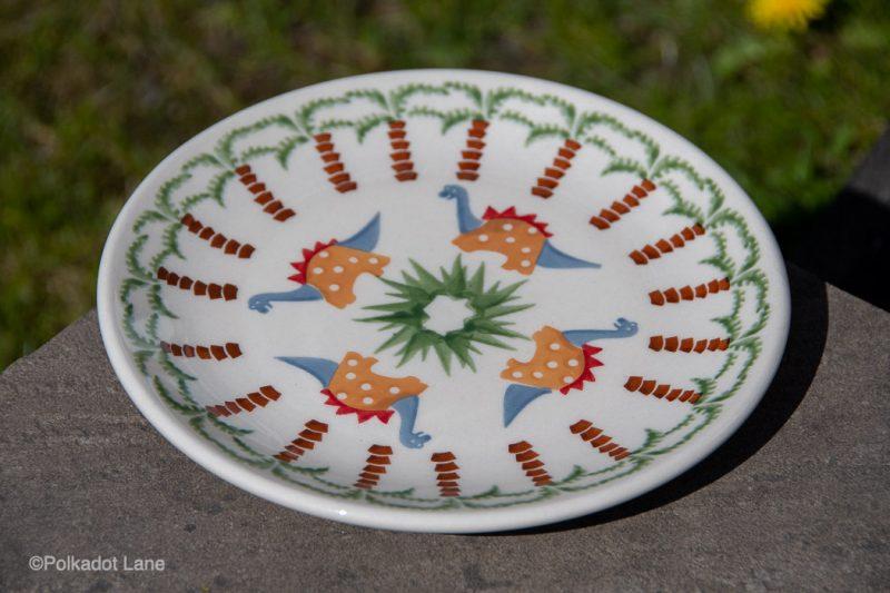 Dinosaur Pattern Side Plate by Ceramika Manufaktura Polish Pottery