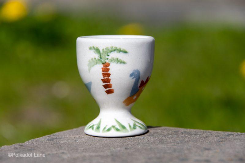 Polish Pottery Dinosaur Pattern Egg Cup by Ceramika Manufaktura