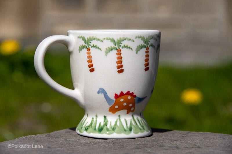 Small Mug Dinosaur Pattern by Ceramika Manufaktura Polish Pottery