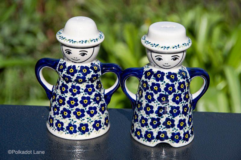 Ditzy Blue Flower Salt and Pepper Pots by Ceramika Manufaktura Polish Pottery
