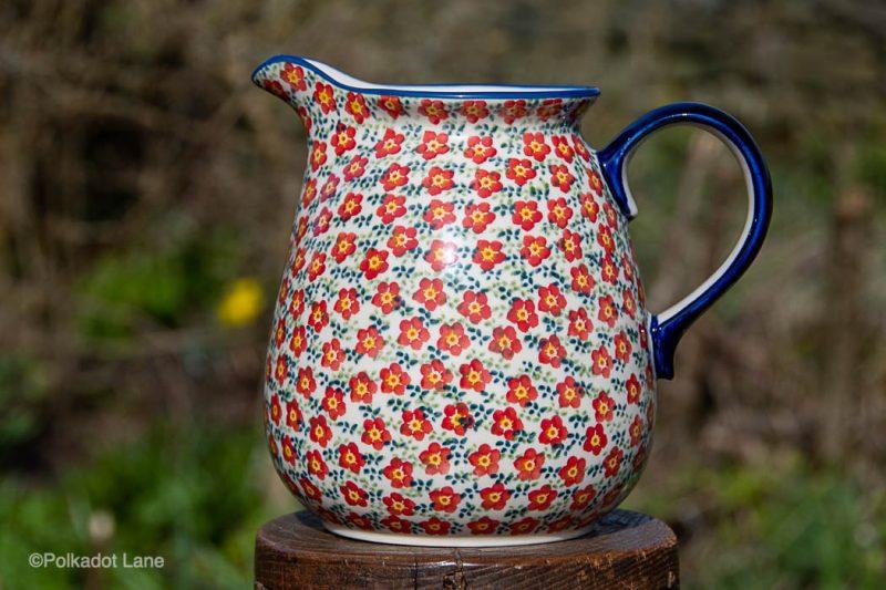 Polish Pottery Ditzy Red Flower Large Jug from Polkadot Lane UK