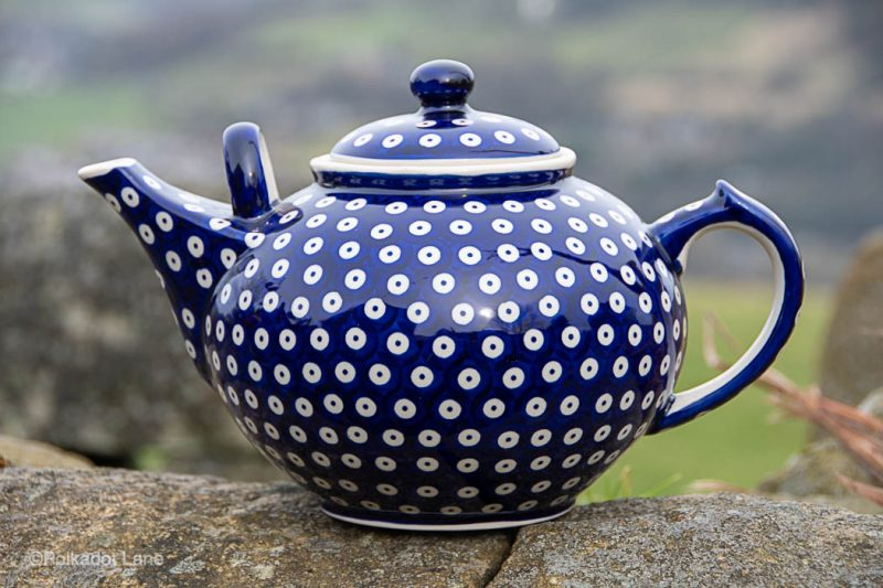 Blue Spotty Extra Large Teapot from polkadot Lane Polish Pottery UK shop and outlet