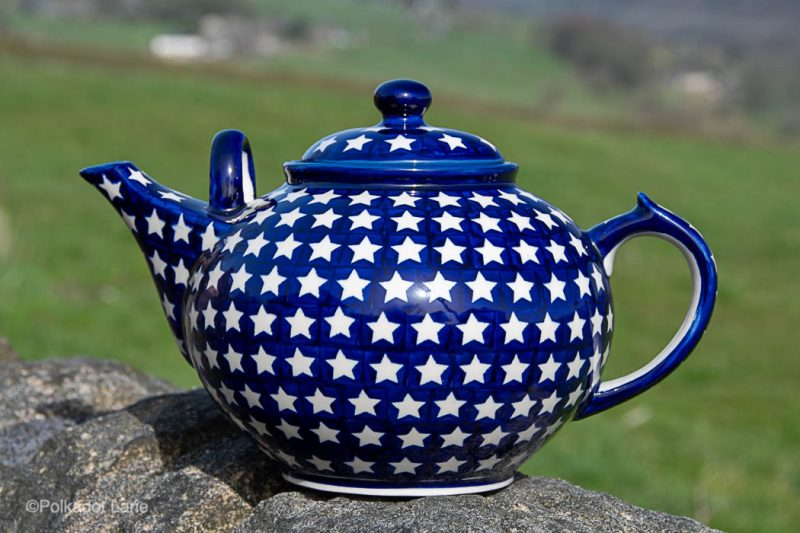 White Stars Extra Large Teapot by Ceramika Manufaktura Polish Pottery