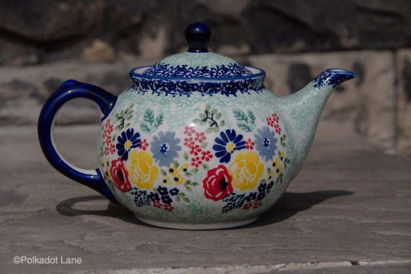 Flower Garden Teapot for Two from Polkadot Lane Polish Pottery