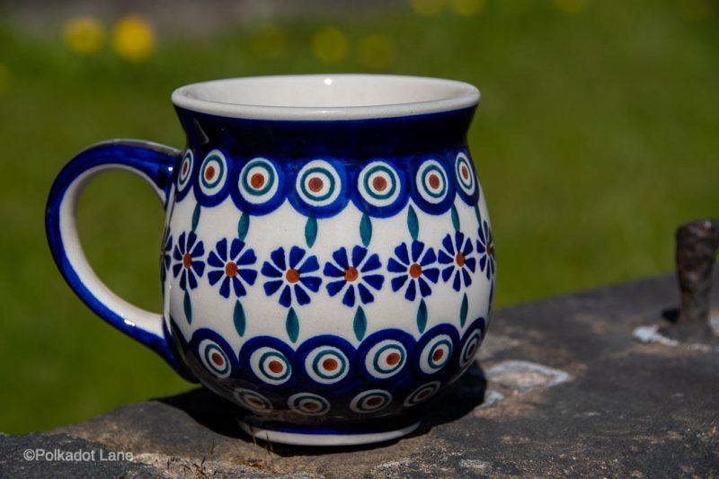 Polish Pottery Peacock Flower Large mug from Polkadot Lane UK