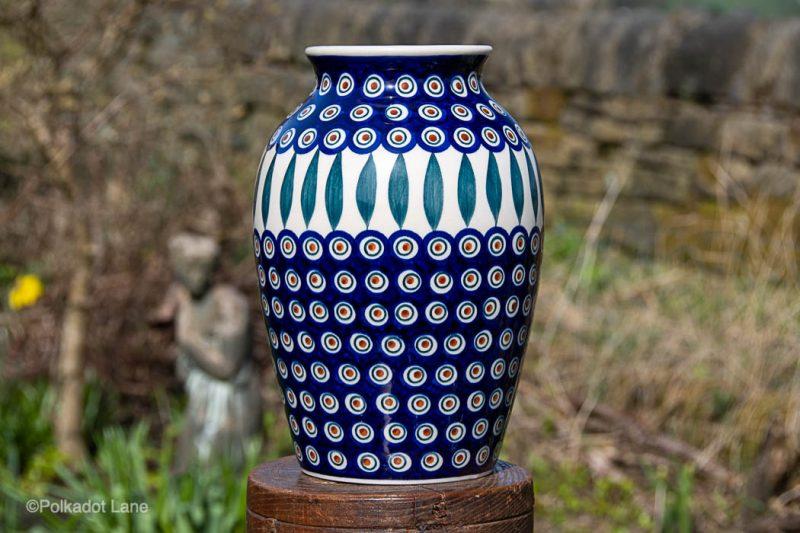 Peacock Leaf Pattern Large Polish Pottery Vase from polkadot Lane UK