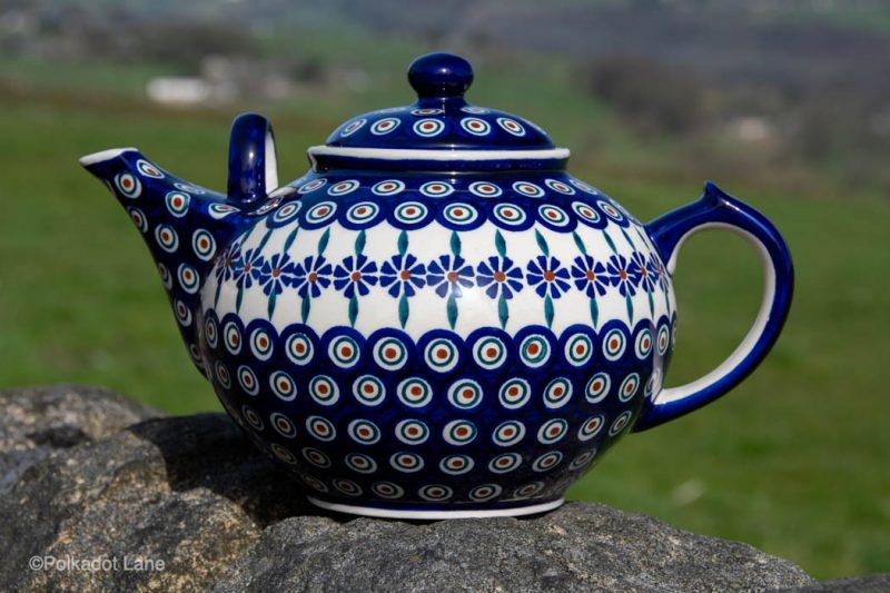 Peacock Leaf Extra Large Teapot for 10 cups by Ceramika Manufaktura