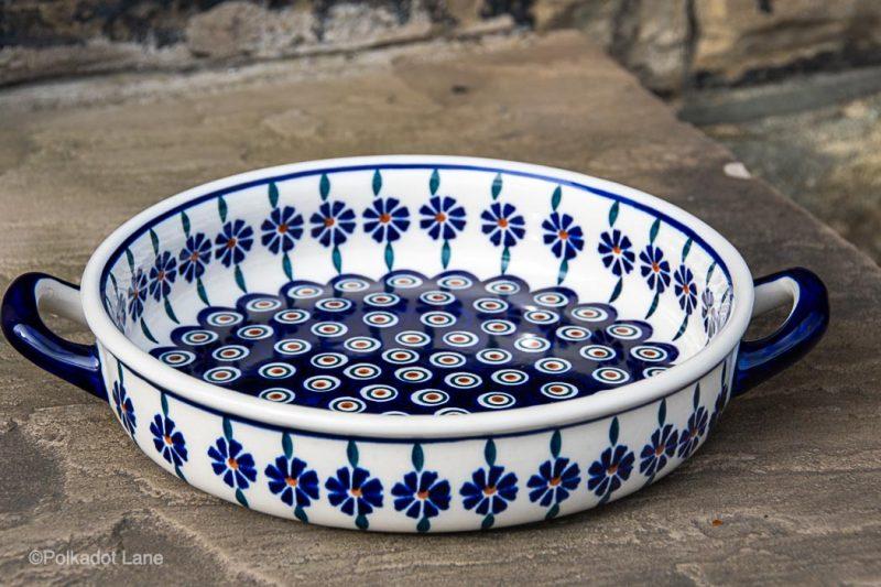 Peacock Flower Round Dish With Handles by Ceramika Manufaktura Polish Pottery